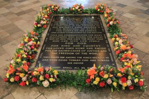 The Grave of the Unknown Warrior at Westminster Abbey, for the Armistice centenary Anniversary, with Fresh flowers signifying the end of the 1WW around.