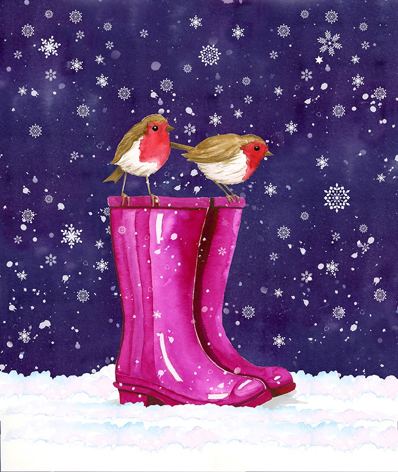 Robin on Wellies